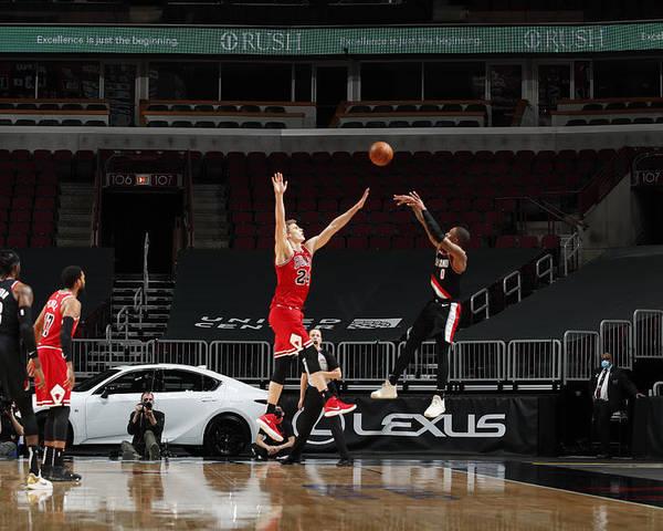 Nba Pro Basketball Poster featuring the photograph Damian Lillard by Jeff Haynes