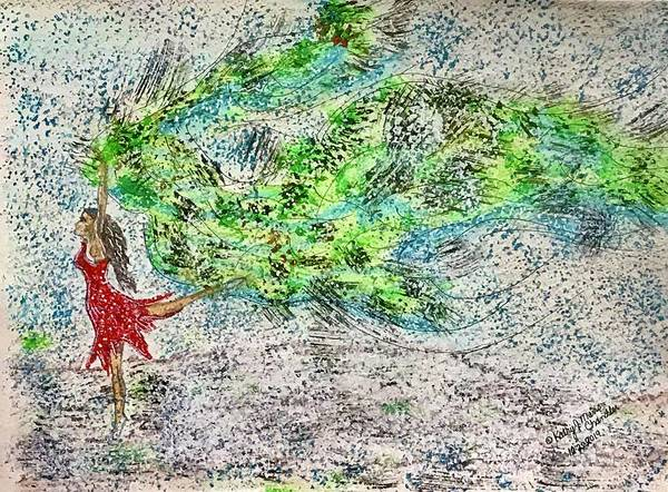 Dancing Poster featuring the painting Dancing in The Blizzard by Kathy Marrs Chandler