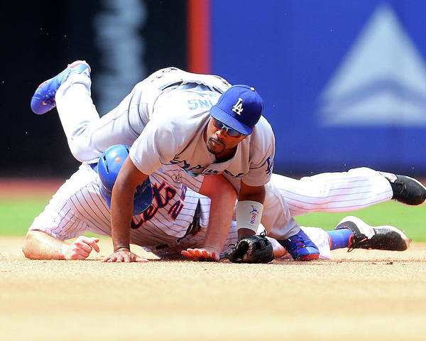 Double Play Poster featuring the photograph Daniel Murphy and Jimmy Rollins by Mike Stobe