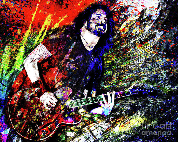Dave Grohl Poster featuring the mixed media Dave Grohl Art by Ryan Rock Artist