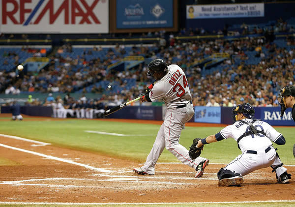 Baseball Catcher Poster featuring the photograph David Ortiz by Brian Blanco