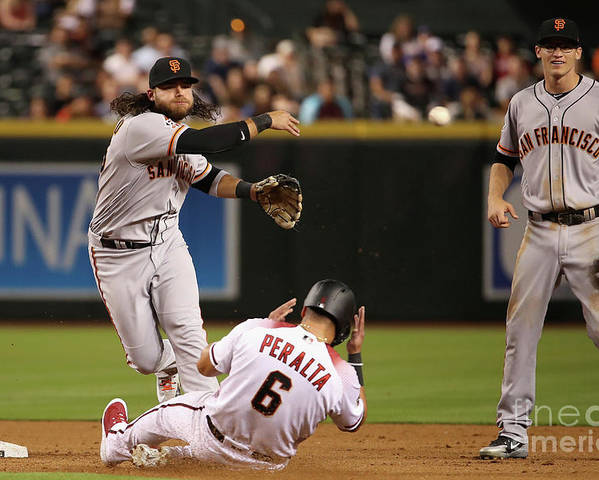 Double Play Poster featuring the photograph David Peralta and Brandon Crawford by Christian Petersen