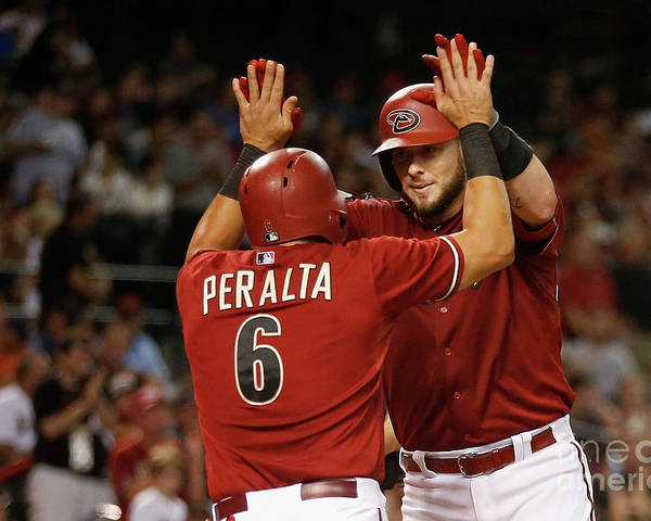 People Poster featuring the photograph David Peralta and Jarrod Saltalamacchia by Christian Petersen