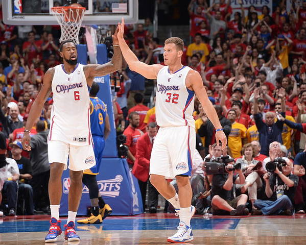 Playoffs Poster featuring the photograph Deandre Jordan and Blake Griffin by Andrew D. Bernstein