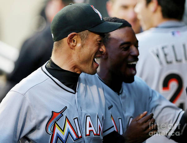 American League Baseball Poster featuring the photograph Dee Gordon, Ichiro Suzuki, and Giancarlo Stanton by Elsa