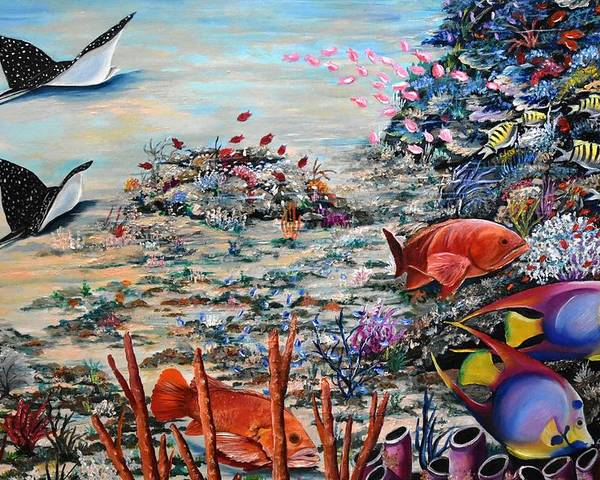 Caribbean Reef Poster featuring the painting Deep Reds by Karin Dawn Kelshall- Best