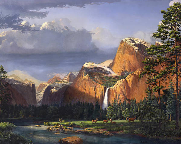 American Poster featuring the painting Deer Meadow Mountains Western stream Deer waterfall Landscape Oil Painting stormy sky snow scene by Walt Curlee