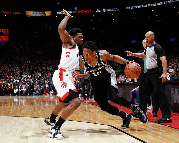 Nba Pro Basketball Poster featuring the photograph Demar Derozan and Kyle Lowry by Mark Blinch