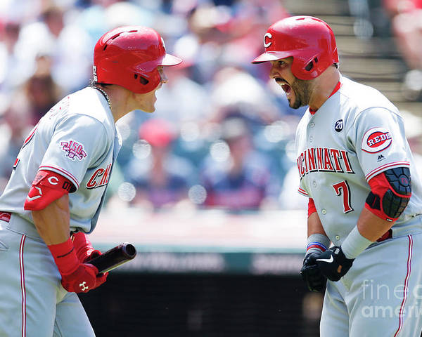 Three Quarter Length Poster featuring the photograph Derek Dietrich and Eugenio Suarez by Ron Schwane