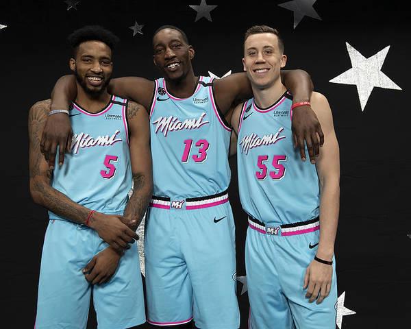 Nba Pro Basketball Poster featuring the photograph Derrick Jones and Bam Adebayo by Jesse D. Garrabrant