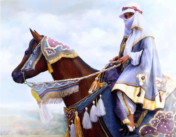 Horse Poster featuring the painting Desert Arabian Native Costume Horse And Girl Rider by Connie Moses