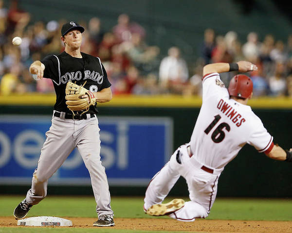 Double Play Poster featuring the photograph Dj Lemahieu and Chris Owings by Christian Petersen