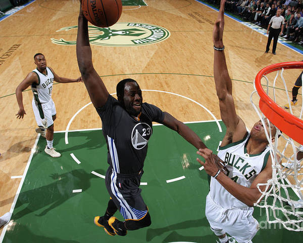 Nba Pro Basketball Poster featuring the photograph Draymond Green and Giannis Antetokounmpo by Gary Dineen