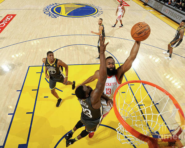 Playoffs Poster featuring the photograph Draymond Green and James Harden by Noah Graham