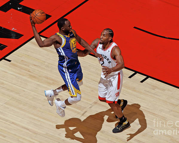 Playoffs Poster featuring the photograph Draymond Green and Kawhi Leonard by Mark Blinch