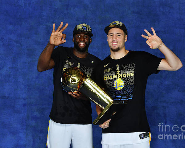 Playoffs Poster featuring the photograph Draymond Green and Klay Thompson by Jesse D. Garrabrant