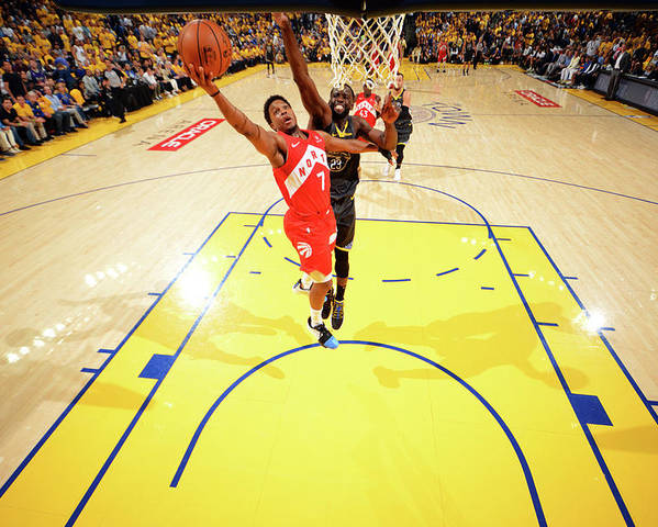 Playoffs Poster featuring the photograph Draymond Green and Kyle Lowry by Jesse D. Garrabrant