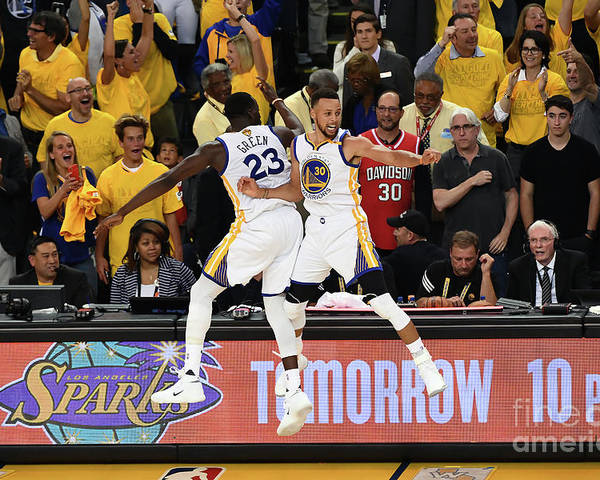 Playoffs Poster featuring the photograph Draymond Green and Stephen Curry by Garrett Ellwood