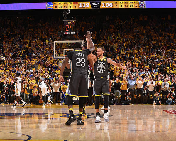 Playoffs Poster featuring the photograph Draymond Green and Stephen Curry by Noah Graham