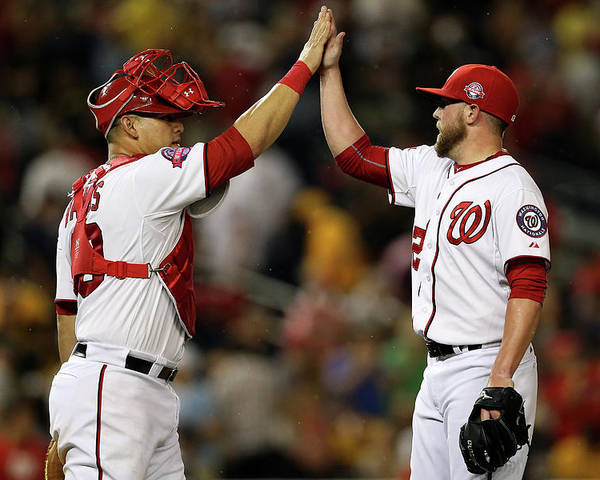 Drew Storen Poster featuring the photograph Drew Storen and Wilson Ramos by Patrick Smith