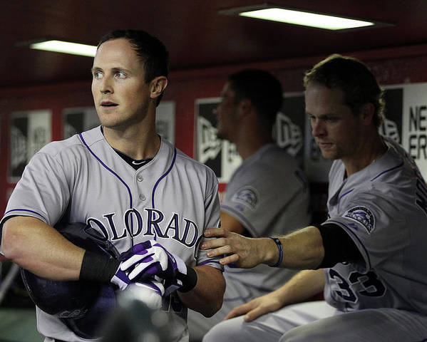 Ninth Inning Poster featuring the photograph Drew Stubbs and Justin Morneau by Christian Petersen
