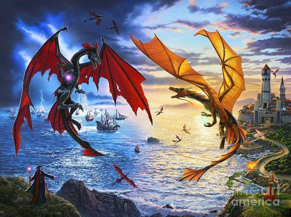 Dragon Poster featuring the painting Duel of the Dragon Wizards by Stu Shepherd