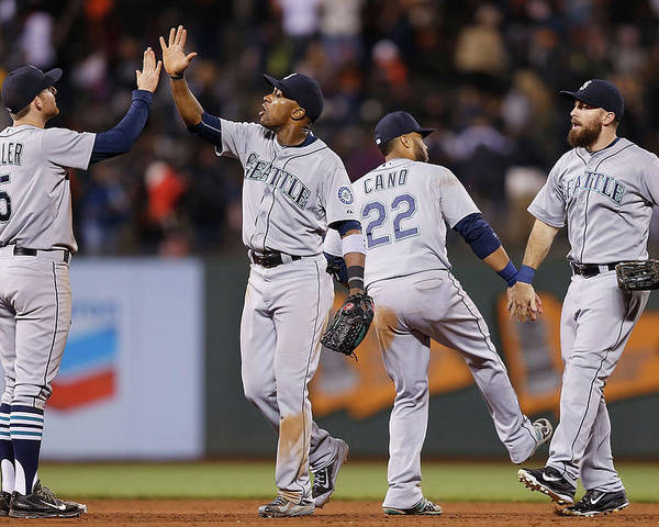 San Francisco Poster featuring the photograph Dustin Ackley, Austin Jackson, and Brad Miller by Lachlan Cunningham
