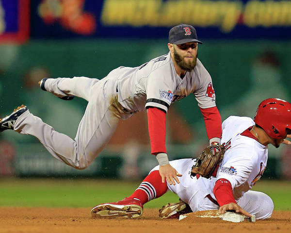 2nd Base Poster featuring the photograph Dustin Pedroia, Jon Jay, and David Freese by Dilip Vishwanat
