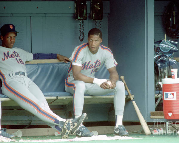 Dwight Gooden Poster featuring the photograph Dwight Gooden and Darryl Strawberry by George Gojkovich