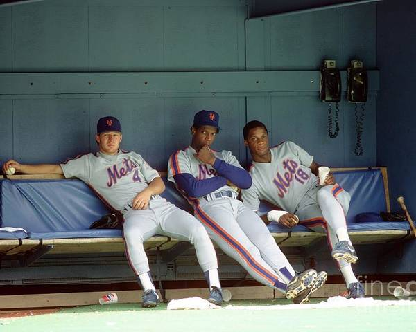 Dwight Gooden Poster featuring the photograph Dwight Gooden, Darryl Strawberry, and Lenny Dykstra by George Gojkovich
