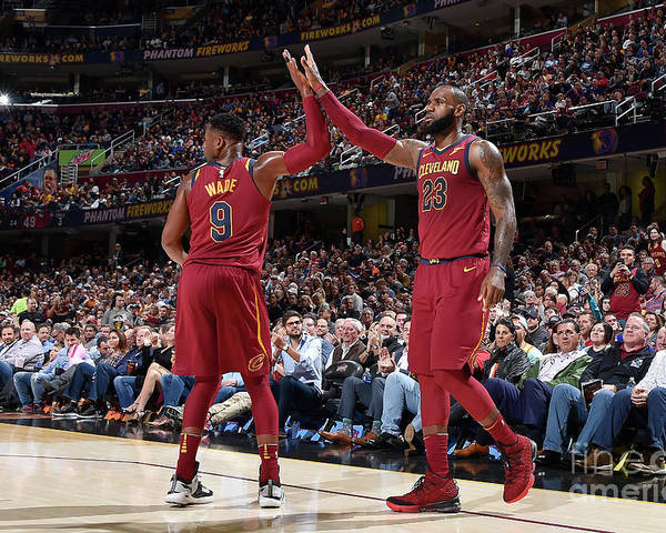 Nba Pro Basketball Poster featuring the photograph Dwyane Wade and Lebron James by David Liam Kyle