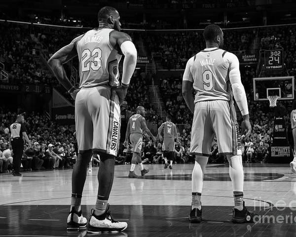 Nba Pro Basketball Poster featuring the photograph Dwyane Wade and Lebron James by Joe Murphy