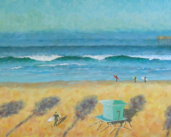 Life Guard Tower Poster featuring the painting Tower Number Seven by Philip Fleischer