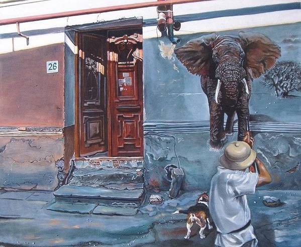 Surreal Poster featuring the painting Elephant Hunter's Hallucination by Ramaz Razmadze