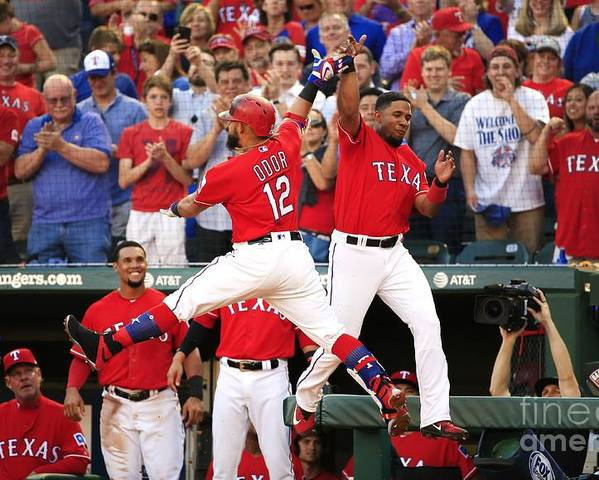 Second Inning Poster featuring the photograph Elvis Andrus and Rougned Odor by Ron Jenkins