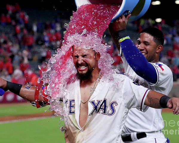 Ninth Inning Poster featuring the photograph Elvis Andrus and Rougned Odor by Tom Pennington