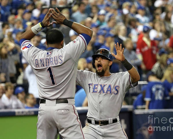 Game Two Poster featuring the photograph Elvis Andrus and Rougned Odor by Tom Szczerbowski