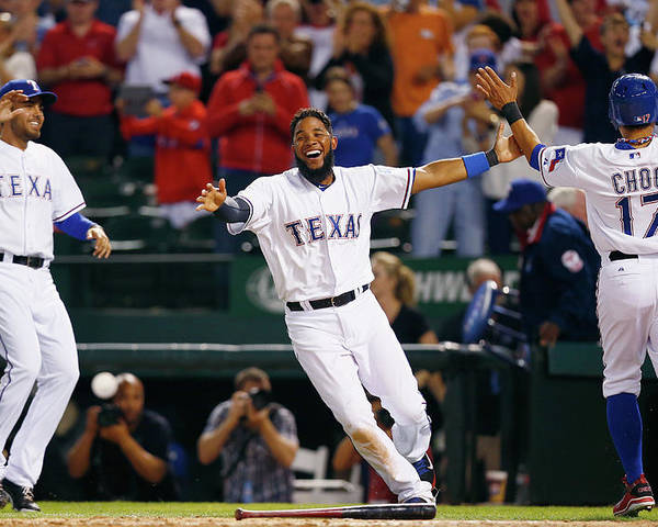 Ninth Inning Poster featuring the photograph Elvis Andrus and Shin-soo Choo by Tom Pennington