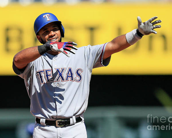 People Poster featuring the photograph Elvis Andrus by Brian Davidson