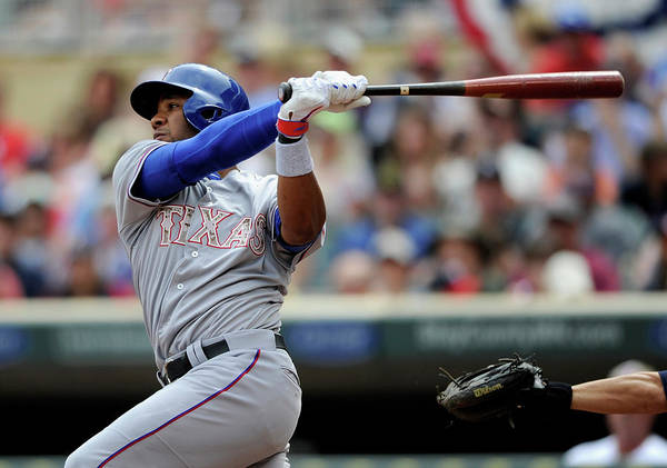 American League Baseball Poster featuring the photograph Elvis Andrus by Hannah Foslien