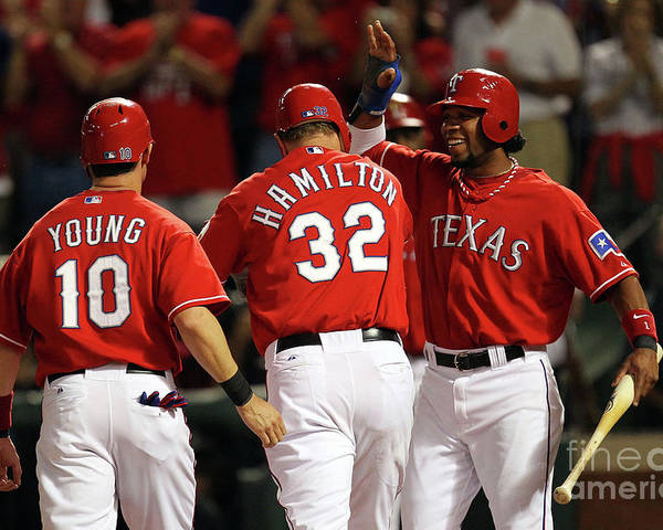 Playoffs Poster featuring the photograph Elvis Andrus, Michael Young, and Josh Hamilton by Ronald Martinez
