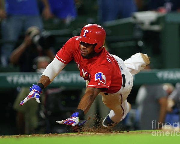 Ninth Inning Poster featuring the photograph Elvis Andrus by Rick Yeatts