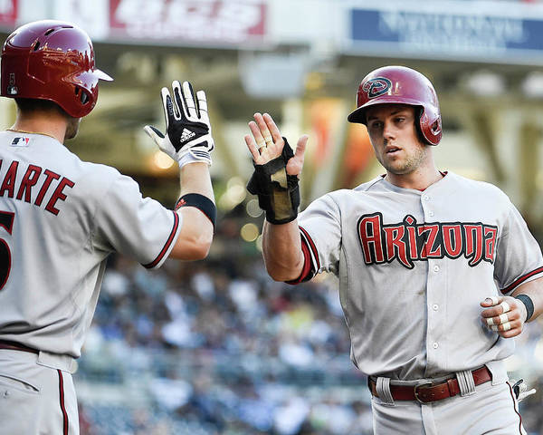 Second Inning Poster featuring the photograph Ender Inciarte and Chris Owings by Denis Poroy