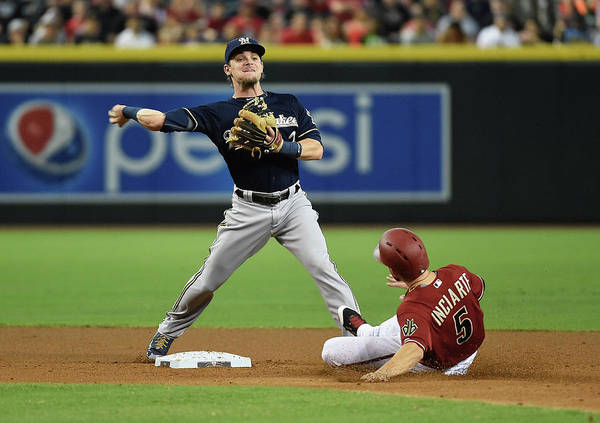 Double Play Poster featuring the photograph Ender Inciarte by Norm Hall