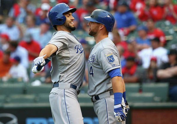Second Inning Poster featuring the photograph Eric Hosmer and Alex Gordon by Ronald Martinez