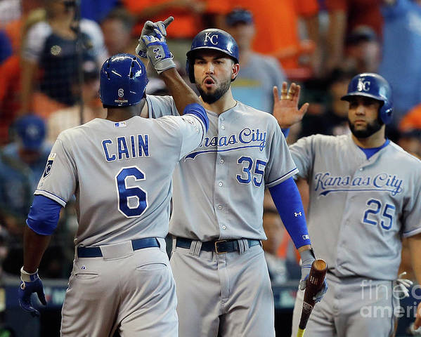 Three Quarter Length Poster featuring the photograph Eric Hosmer and Lorenzo Cain by Bob Levey
