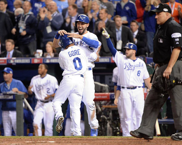 Playoffs Poster featuring the photograph Eric Hosmer and Terrance Gore by Ron Vesely