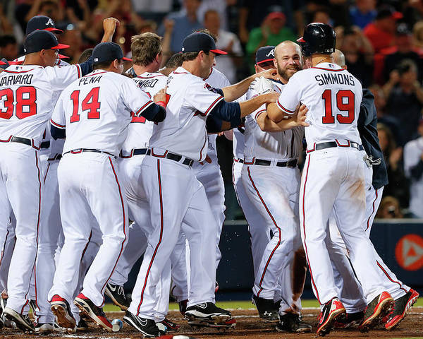 Atlanta Poster featuring the photograph Evan Gattis and Dan Uggla by Kevin C. Cox