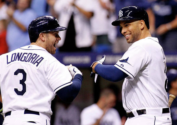 American League Baseball Poster featuring the photograph Evan Longoria and James Loney by Brian Blanco