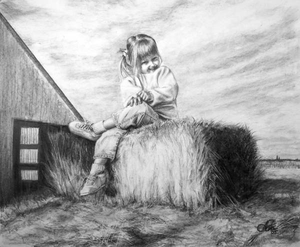 Farm Poster featuring the drawing Farm Girl by Arthur Fix